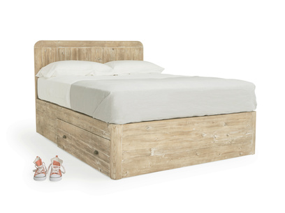 Woody contemporary storage bed handmade in solid oak
