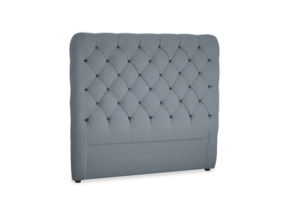 Double Tall Billow Headboard in Blue Storm washed cotton linen