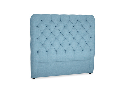 Double Tall Billow Headboard in Moroccan blue clever woolly fabric