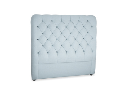Double Tall Billow Headboard in Soothing blue washed cotton linen