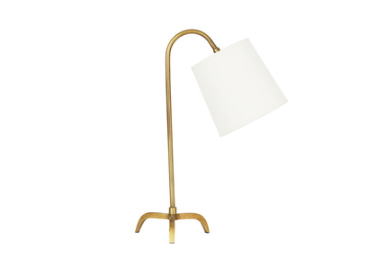 Little Slam Dunk In Brass lamp with Natural Hessian shade