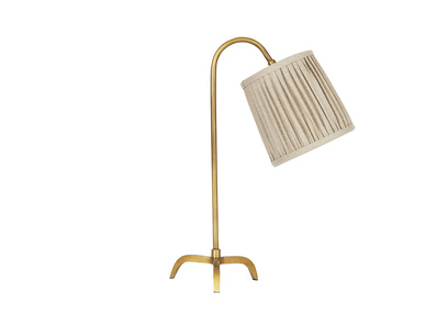 Little Slam Dunk In Brass lamp with a Natural pleated shade