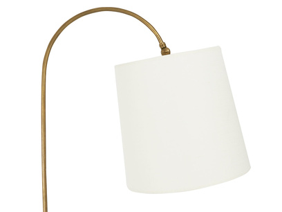 Slam Dunk brass curved floor lamp with linen shade