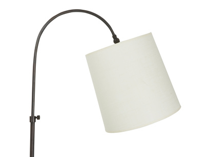 Slam Dunk curved bronze floor lamp with a plain shade