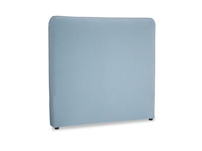Double Ruffle Headboard in Chalky blue vintage velvet
