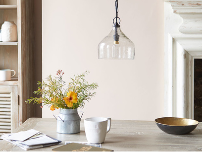 Small Cowbell hanging pendant light in glass