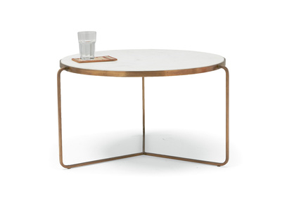 Low Jinks contemporary brass and marble coffee table
