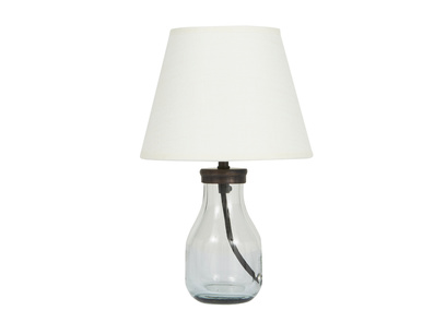 Mini Milk Bottle Table Lamp with Natural Hessian shade