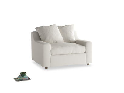Cloud love seat sofa bed in Oyster white clever linen