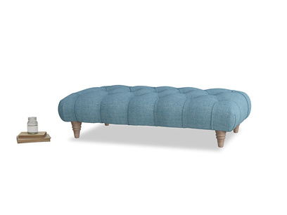 Comfty Footstool in Moroccan blue clever woolly fabric