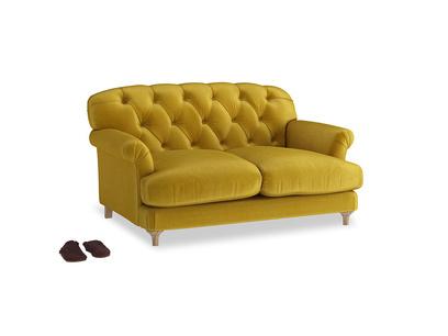 Small Truffle Sofa in Burnt yellow vintage velvet