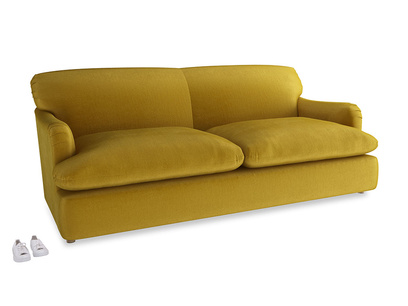 Large Pudding Sofa Bed in Burnt yellow vintage velvet