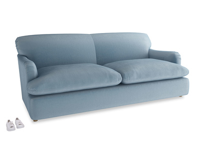 Large Pudding Sofa Bed in Chalky blue vintage velvet