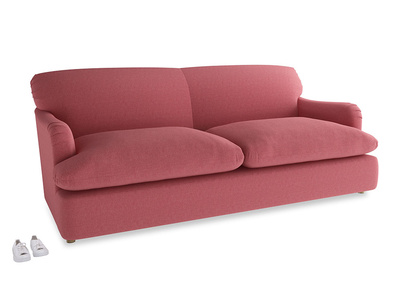 Large Pudding Sofa Bed in Raspberry brushed cotton