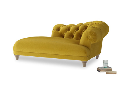 Right Hand Fats Chaise Longue in Burnt yellow vintage velvet