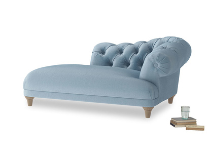Right Hand Fats Chaise Longue in Chalky blue vintage velvet