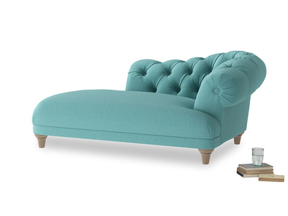 Right Hand Fats Chaise Longue in Peacock brushed cotton