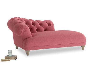 Left Hand Fats Chaise Longue in Raspberry brushed cotton