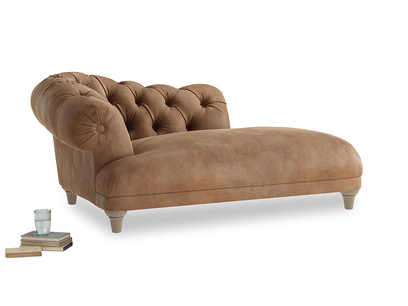 Left Hand Fats Chaise Longue in Walnut beaten leather