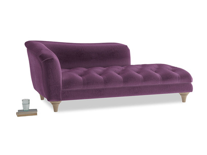 Left Hand Slumber Jack Chaise Longue in Grape clever velvet