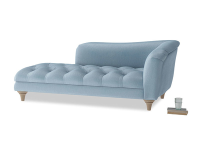 Right Hand Slumber Jack Chaise Longue in Chalky blue vintage velvet