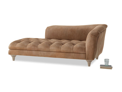 Right Hand Slumber Jack Chaise Longue in Walnut beaten leather