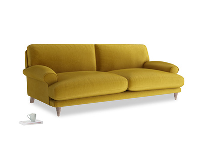 Large Slowcoach Sofa in Burnt yellow vintage velvet