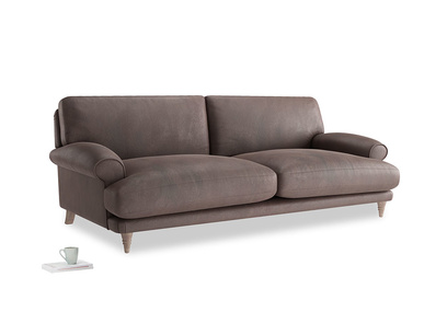 Large Slowcoach Sofa in Dark Chocolate beaten leather