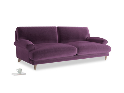 Large Slowcoach Sofa in Grape clever velvet