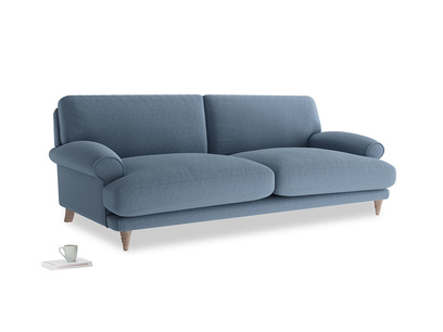 Large Slowcoach Sofa in Nordic blue brushed cotton