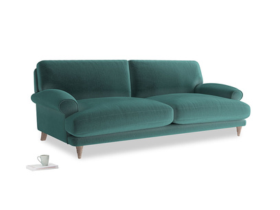 Large Slowcoach Sofa in Real Teal clever velvet
