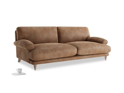 Large Slowcoach Sofa in Walnut beaten leather