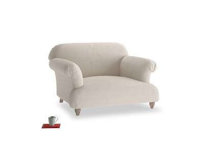 Soufflé Love seat in Buff brushed cotton