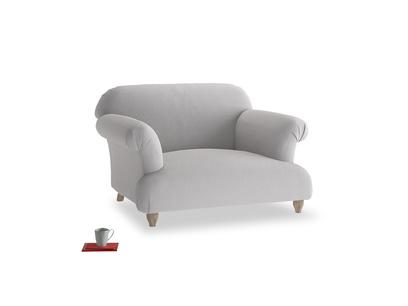 Soufflé Love seat in Flint brushed cotton