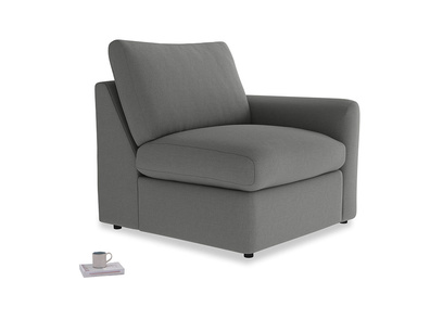 Chatnap Storage Single Seat in French Grey brushed cotton with a right arm