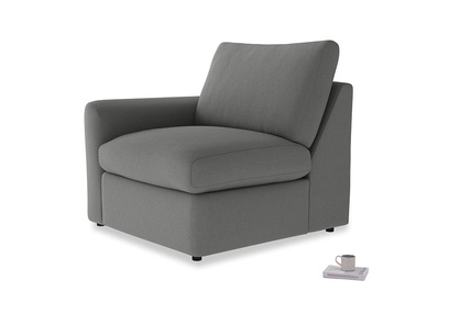 Chatnap Storage Single Seat in French Grey brushed cotton with a left arm