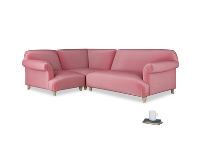 Large left hand Soufflé Modular Corner Sofa in Blushed pink vintage velvet with both arms