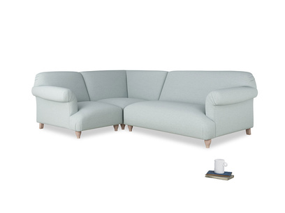 Large left hand Soufflé Modular Corner Sofa in Duck Egg vintage linen with both arms