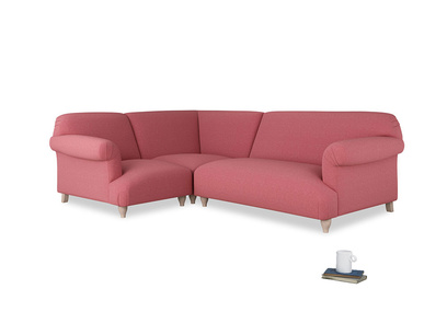 Large left hand Soufflé Modular Corner Sofa in Raspberry brushed cotton with both arms