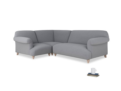 Large left hand Soufflé Modular Corner Sofa in Dove grey wool with both arms