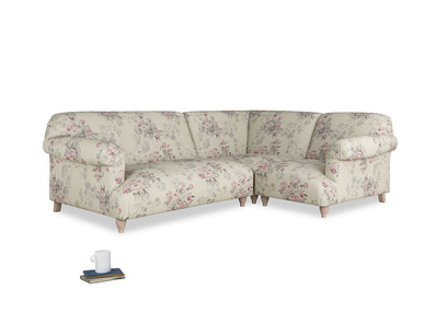 Large right hand Soufflé Modular Corner Sofa in Pink vintage rose with both arms