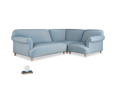 Large right hand Soufflé Modular Corner Sofa in Chalky blue vintage velvet with both arms