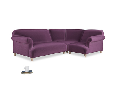 Large right hand Corner Soufflé Modular Corner Sofa in Grape clever velvet and both Arms