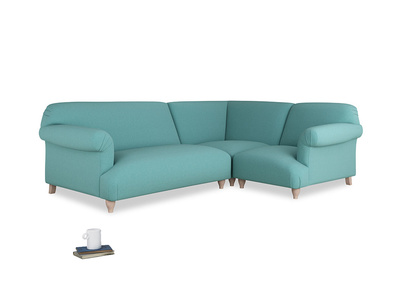 Large right hand Soufflé Modular Corner Sofa in Peacock brushed cotton with both arms