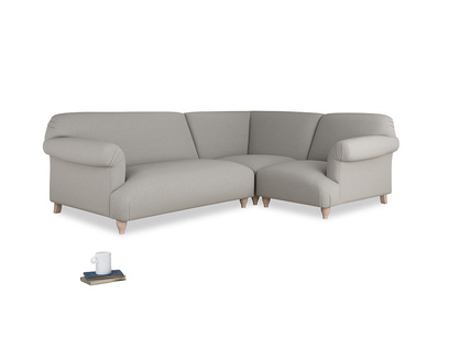 Large right hand Corner Soufflé Modular Corner Sofa in Wolf brushed cotton and both Arms