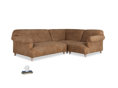 Large right hand Soufflé Modular Corner Sofa in Walnut beaten leather with both arms