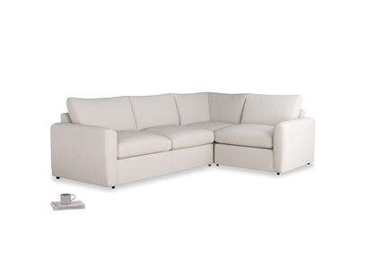 Large right hand Chatnap modular corner storage sofa in Chalk clever cotton with both arms