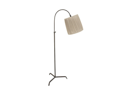Slam Dunk Floor Lamp In Bronze with a Natural shade
