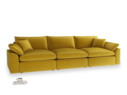 Large Cuddlemuffin Modular sofa in Burnt yellow vintage velvet
