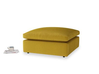 Cuddlemuffin Footstool in Burnt yellow vintage velvet